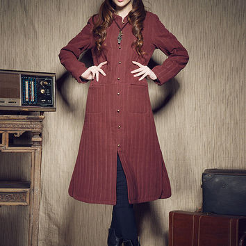 Winter Coat in Wine Red, Long Padded Coat, Striped Trench Coat Jacket, Coat Dress in RED, Plus Size Women