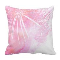Abstract Pink Palm Tree Leaves Design Throw Pillow