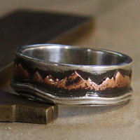 Mountain Lake. Mans rustic engagement ring of sterling silver and copper.