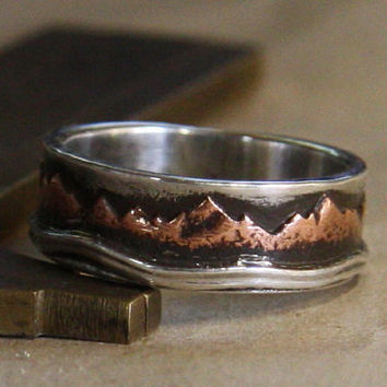Mountain Lake. Mans ring of sterling silver and copper. Mans engagement.