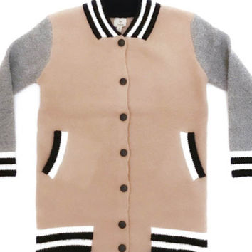 Hot & Delicious Long Sweater Bomber Jacket (pink)