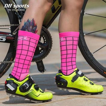 LMFEB2 DH SPORTS Professional Riding Cycling Socks Breathable Outdoor Exercise Sports Socks Compression Athletic Socks for Men Women