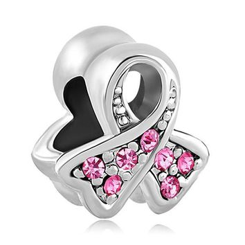 Free shipping 1PC European Breast Cancer Awareness Pink Ribbon Bead Charm Fits Pandora