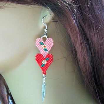 Two Hearts Beaded Earrings - Drop Dangle Earrings - Womens Earrings - Jewelry - Charms - Dangle Earrings - Seed Bead Earrings - Gifts Ideas
