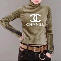 """Chanel"" Women Casual Fashion Letter Logo Print Turtleneck Long Sleeve Bodycon Velvet T-shirt Tops"