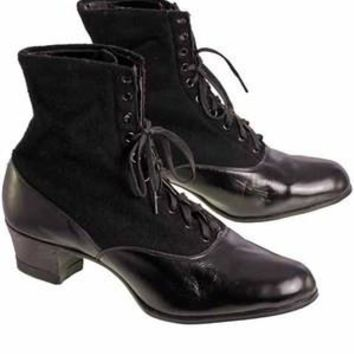 Vintage Black Wool & Leather Lace Up Boots 1910s NIB Womens Sz 8 S S & Co