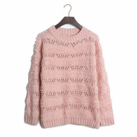 Aliexpress.com : Buy Free shipping 2013 Korean style new hollow circle mohair sweater round neck long sleeved knitting sweater XCD2081 824 45 from Reliable sweater pullover suppliers on eFoxcity Wholesale
