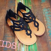 Not Rated Coast Blvd Black Beaded Girls Sandals