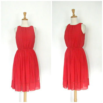 1960s Cocktail Dress / 60s dress / mauve / full skirt / mad men / sleeveless / holiday party dress / S M