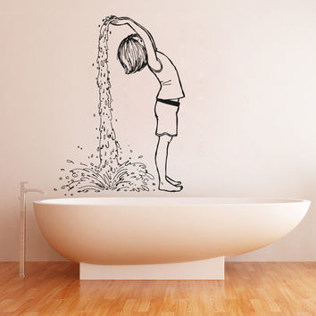 Vinyl Wall Decal Sticker Girl Making Waterfall #OS_AA1541