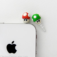Nintendo Mario Mushroom iPhone Earphone Plug, Dust Plug, Cellphone Geek Accessories, Polymer Clay