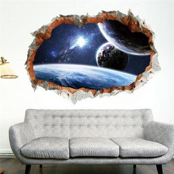 Galaxy Space Planet Stars 3D Window Poster Broken Wall Creative Decorations For Kids Baby Nursery Bedroom Wall Stikcer Decor
