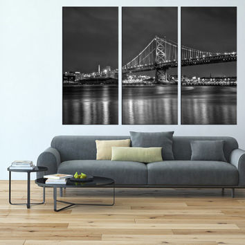 Philadelphia skyline wall art, Ben franklin bridge art Print, extra large wall art, canvas art for large wall,  modern wall decor t129