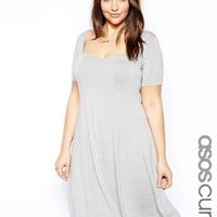 ASOS CURVE Skater Dress With Sweetheart Neck And Short Sleeve - Gray m