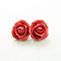 Hand sculpted red flowers Rose earrings (earstuds), free shipping