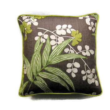 "Botanical green, cream and brown linen cushion cover, Romo Fabrics ""Verbena"" large leaves pillow, throw pillow cover, home decor."