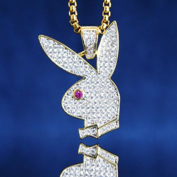 14k Gold Finish Pink Ruby Bunny Pendant Free Chain