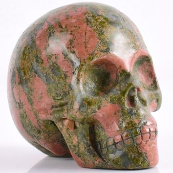 Skull Skulls Halloween Fall 3 inch Natural unakite refinement  figurine gemstone mineral Carved Realistic statue healing Home Ornament art collectible Calavera