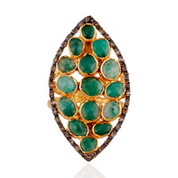 18K Yellow Gold Over Sterling Silver Raw Emerald And Pave Diamond Statement Ring