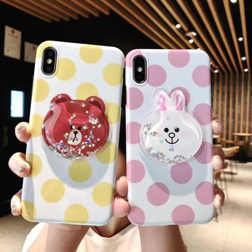 New 3D Shining Stars Sands Cute Bear Bunny Polka Dot Silicone Soft cover case for iphone 6 7 8 plus X XR XS MAX phone cases