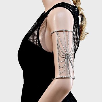 Draped Cage Upper Arm Cuff Bracelet