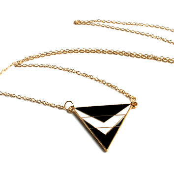 """It's A Try Angle"" Triangle Pendant Gold Chain Necklace"