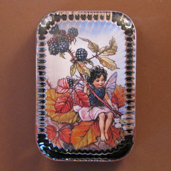 Autumn Blackberry Flower Fairy Heirloom Rectangle Glass Paperweight Cicely Mary Barker Home Decor