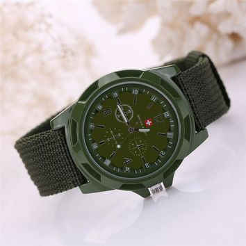 Men Watch Army Soldier Military Canvas Strap