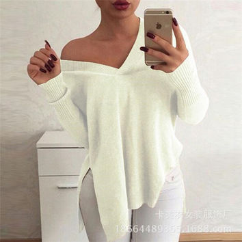 Fashion Women Cardigan Casual Loose Sports Hoodies Long Sleeve V Neck Split Outerwear Jacket Top _ 11201