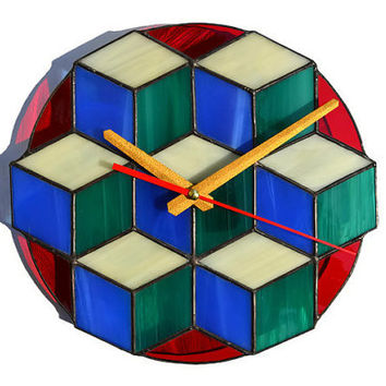 Wall Clock Modern Simple 3d cube teal, blue, ivory at the red background, Unique Stained Glass Clock with Geometric Design, Wall Art Decor