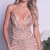 RUMINA DRESS IN NUDE WITH GOLD