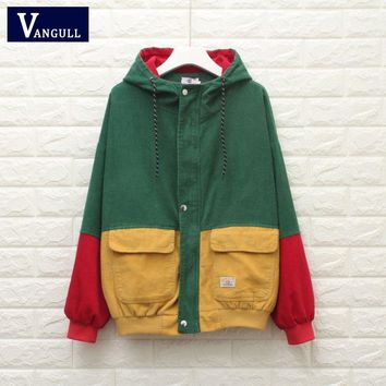 Trendy Winter Warm Color Block Hooded Corduroy Jacket Drawstring Hit Color Patched Pocket Thick Basic Women Coat Harajuku VANGULL 2018 AT_94_13