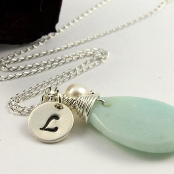Amazonite Teardrop Necklace in 925 Silver - Freshwater Pearl and Personalized Tag - Initial Necklace