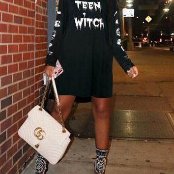 "New Black White Monogram ""TEEN WITCH"" Print Halloween Costumes Long Sleeve Mini Dress"
