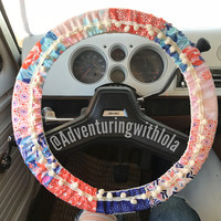 Joy Ride - Orange/Pink/Blue pompom steering wheel cover
