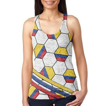 World Cup Colombia Soccer Ball Juniors Burnout Racerback Tank Top