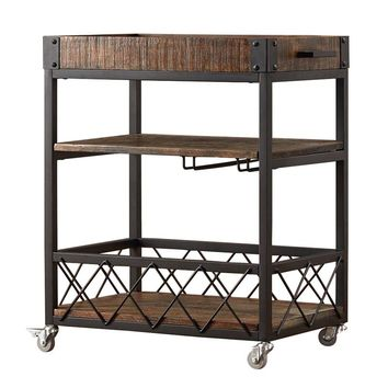 Portable Kitchen Island Cart with Wheels and Glasses Holder