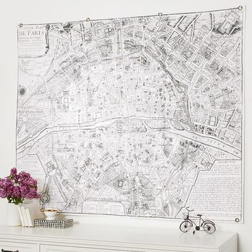 Vintage Paris Map Tapestry