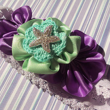50% OFF SALE Starfish Headband, Satin Flower, Mermaid Headband, The Little Mermaid, Under the Sea Headband, Disney, Sea Star, Ariel Princess