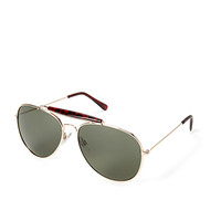 FOREVER 21 Tortoise Aviator Sunglasses Gold/Olive One