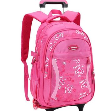 School Backpack Two wheels Trolley Backpack For Children Waterproof Fashion Heart-shaped Pattern School Bag Detachable Backpack For Girls AT_48_3