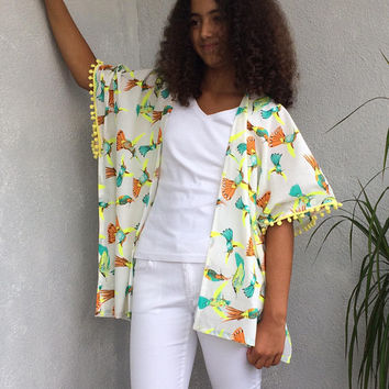 Hummingbird Kimono, Boho Kimono Cardigan, Neon Bird Jacket, Oversize Beachwear, Cotton Beach Kimono, Pompom Kimono, Beach Coverup, Women Top