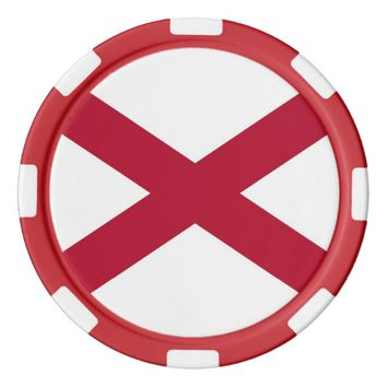 Patriotic poker chips with Flag of Alabama