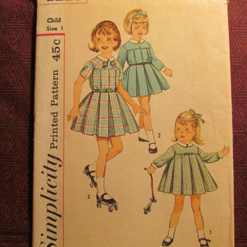 Sale Uncut 1960's Simplicity Sewing Pattern, 4119! Size 1 Toddler/Infant/Kids/Child/Girls Pleated Dresses/Collared/Detachable Collars & Cufs