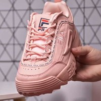 FILA Disruptor 2 new fashion more letter embroidery sports couple gear rack shoe Pink