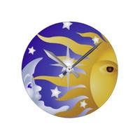 sun with blue moon 2 round clock