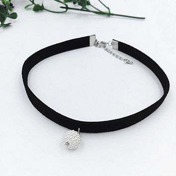 YAKAMOZ Fashion Black Rope Resin Pendant Choker Necklaces Jewelry For Women 2016 Newest Statement Necklaces Collares Hot