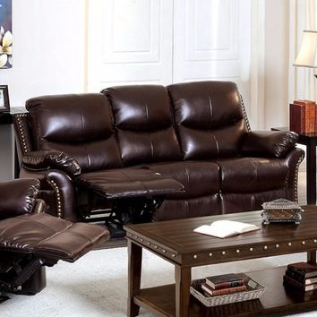 Bonded Leather Sofa with 2 Recliners, Brown