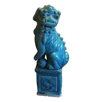 Pre-owned Turquoise Foo Dog Statue