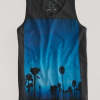 AEO Men's Palm Tree Tank (Tar Ash)